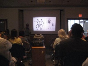 "Leonard Marcus giving a lecture at the exhibition : ""Leonard Weisgard and Others: An Illustrator's Journey,"" The Thorne Gallery June 2008"
